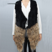 Real Fur Vest Knitted Rabbit And Raccoon Fur Vest Fox Fur Gilet Overcoat Outwear women clothes 2018