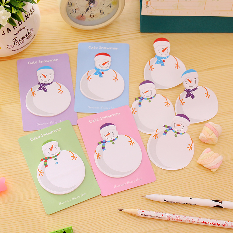 Korean Stationery Creative Snowman Color Message Pompant Notes a Lovely N Post Gift Planner Stickers Sticky Notes Memo Pads Post