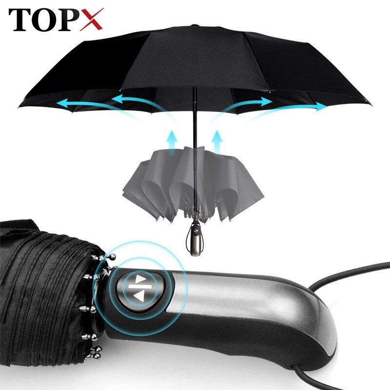 Fully-Automatic-Umbrella Parasol Rain Travel 3folding Business Wind-Resistant Large Women