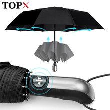 Odporny na wiatr w pełni Parasol automatyczny deszcz kobiety dla mężczyzn 3 składany prezent Parasol kompaktowy duży podróż służbowy samochód 10K Parasol tanie tanio TOPX 48-53 cm promień 190 t nylon fabric Pongee YT-164 W pełni automatyczny Składane Dorosłych Parasole Trzy składane parasol