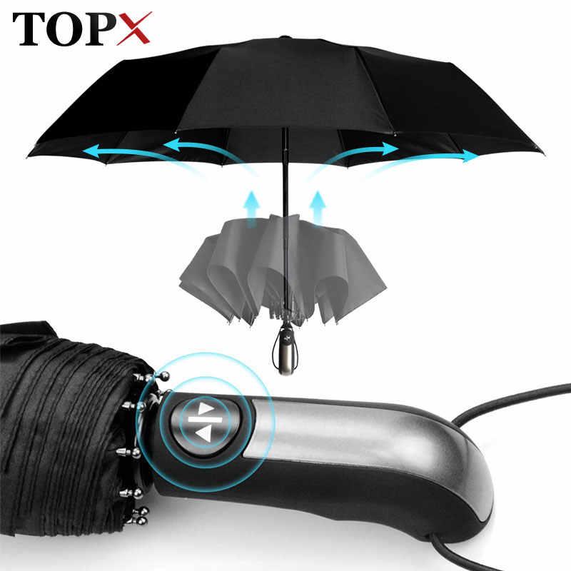 Odporny na wiatr w pełni automatyczny Parasol deszcz kobiety dla mężczyzn 3 składany prezent Parasol kompaktowy duży podróż biznes samochód 10K Parasol