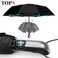 Resistente ao vento totalmente automático guarda chuva chuva feminino para homem 3 dobrável presente guarda sol compacto grande viagem carro de negócios 10k guarda chuva