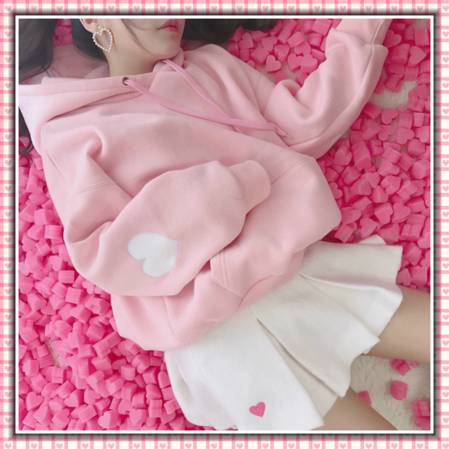 Harajuku Fashion Lange Mouwen Vrouwen Hoodies Zoete Leuke Liefde Borduren Meisjes Sweatshirt Plus Fluwelen Losse Vrouwen Truien