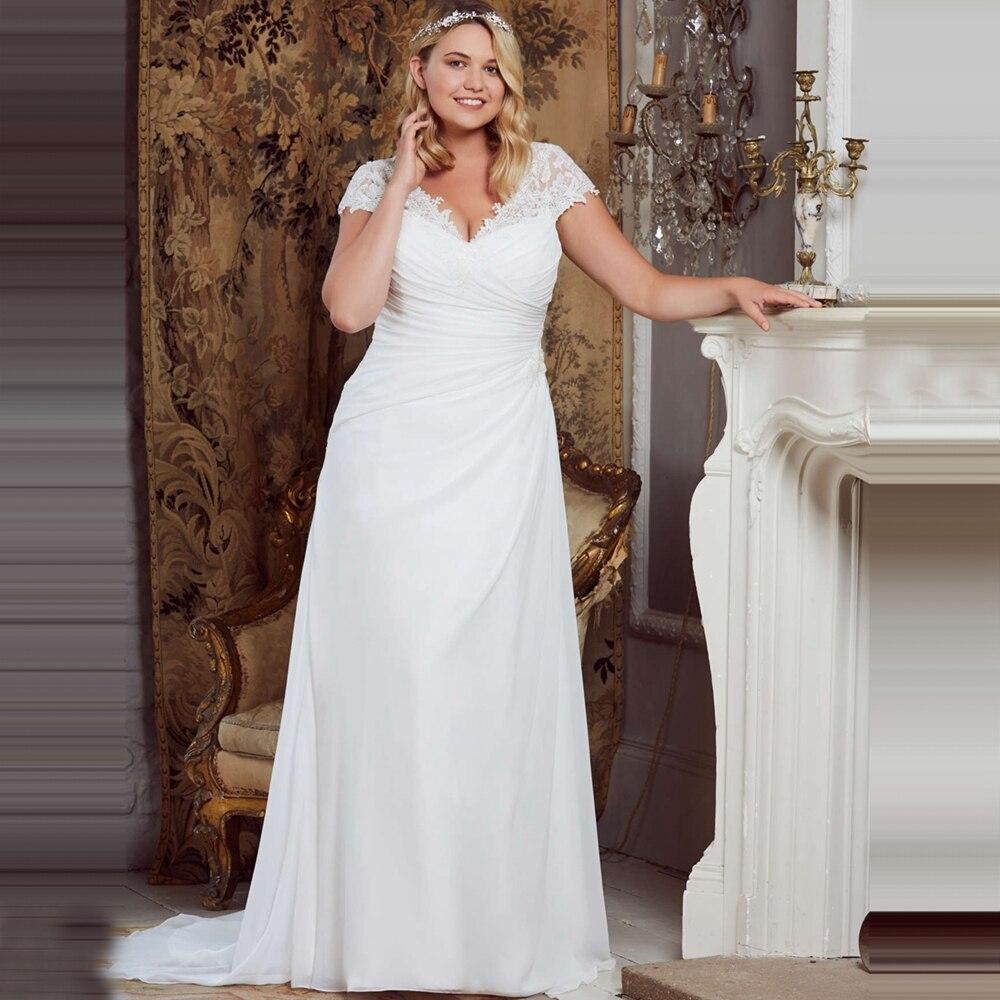 Beach Wedding Dresses 2019 Robe De Mariage Elegant Lace Appliques Chiffon Plus Size Bridal Gowns Vestido De Novia