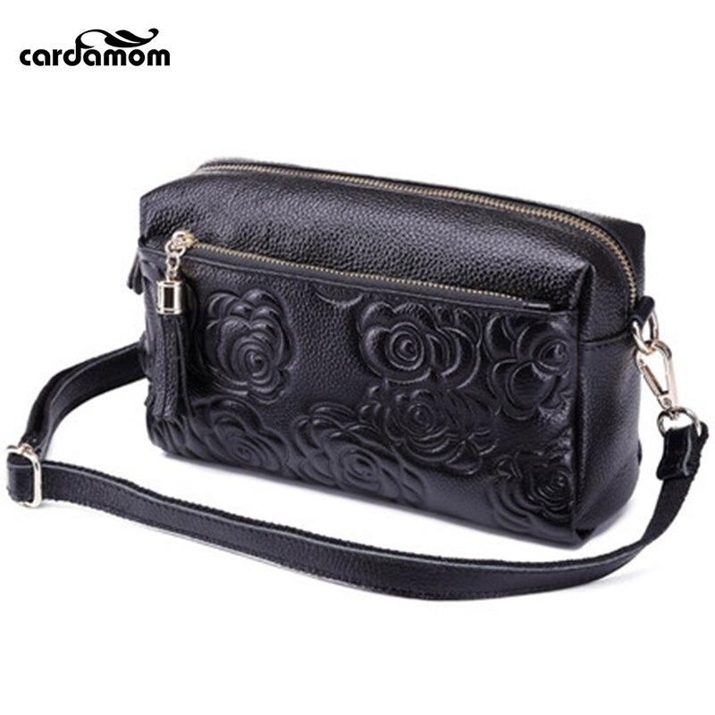 ФОТО Cardamom New Women Genuine Leather Evening Bag Embossing Wristlet Coin Purse Bags Shoulder Messenger Makeup Handbag