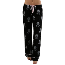 Women Pants Casual High Waist Leggings Trousers Wide Leg Long Pant 2019 Spring Summer Skull Printed Lace Up Pajama Pants At Home