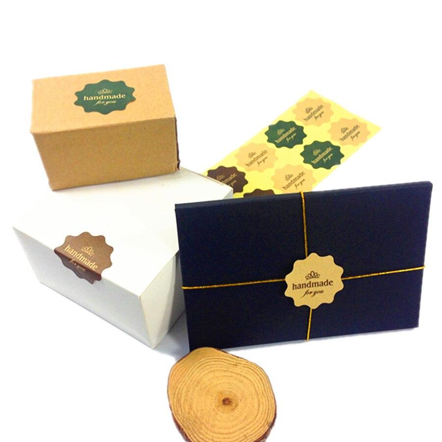 Купить с кэшбэком 120PCS/lot Three color Flower Kraft paper 'handmade for you' print seal Sticker for Handmade Products Packaging label for baking