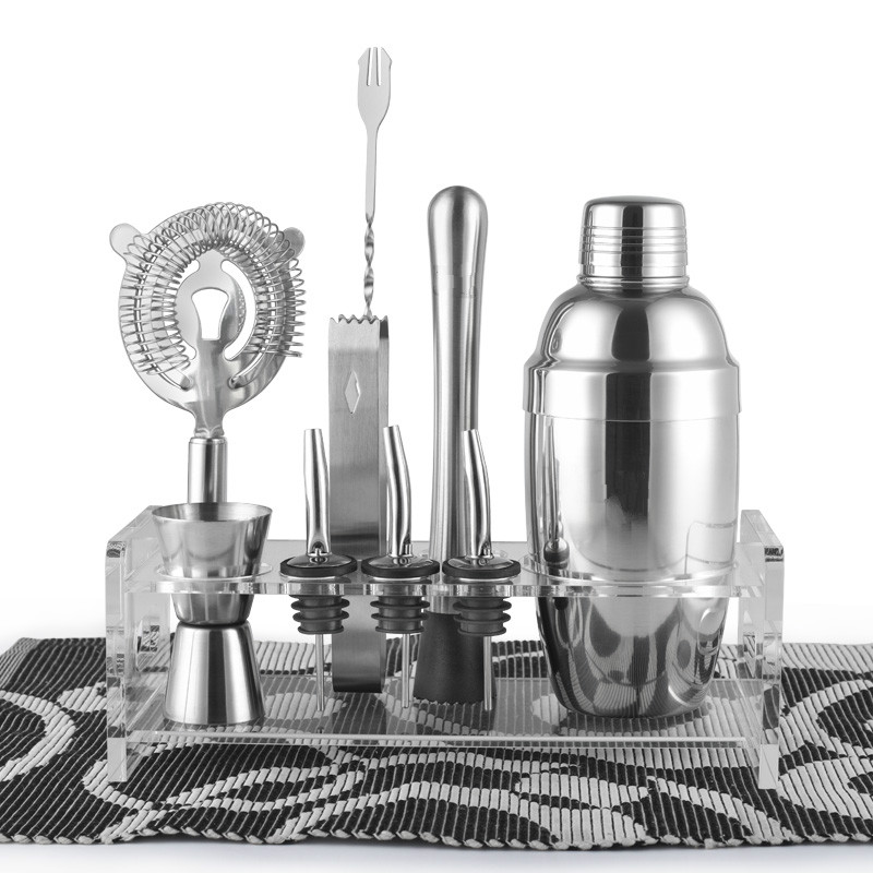 Barware Gift Set Cocktail Shaker Set 10 Pieces includes Tin Jigger Ice Tong Strainer Rack Pourer