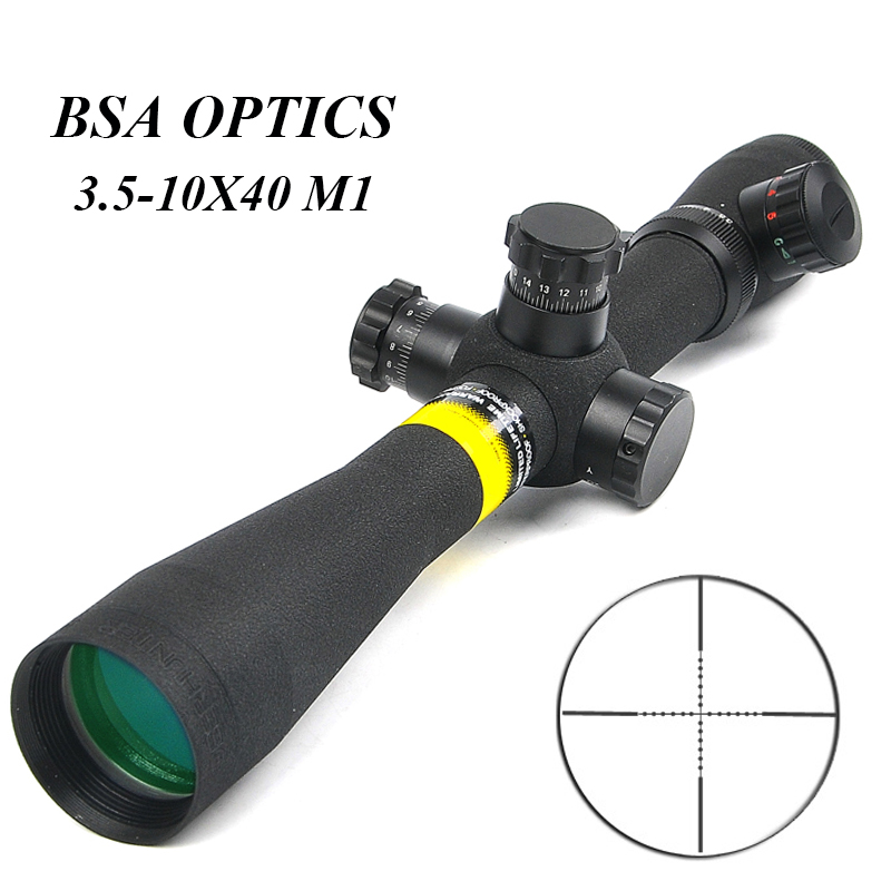 BSA OPTICS 3.5-10X40 M1 Tactical Riflescope Long Eye Relief Rifle Scope Side Parallax Focus Adjust Hunting Scopes Caza
