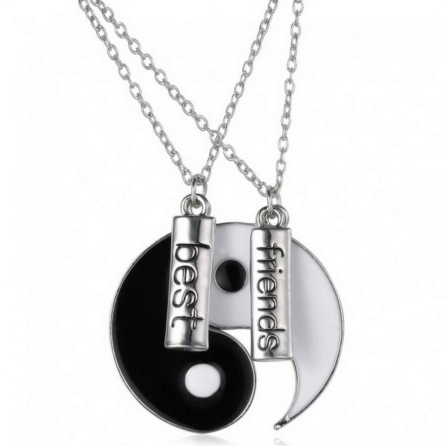 Best friend cool gift taichi yin and yang pair necklace couple short best friend cool gift taichi yin and yang pair necklace couple short pendant necklace carving word accessories retail wholesale in pendant necklaces from aloadofball Images