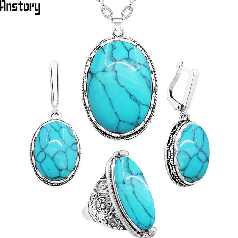 Oval Synthetic Turquoises Jewelry Set Choker Necklace Earrings Rings For Women Hollow Flower Pendant Stainless Steel Chain