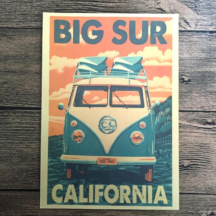 Free ship CALIFORNIA Bus Retro Kraft Paper Poster Wall Bar Art Crafts Wall Sticker Home Living Room Decoration 42x30cm YSP-B043