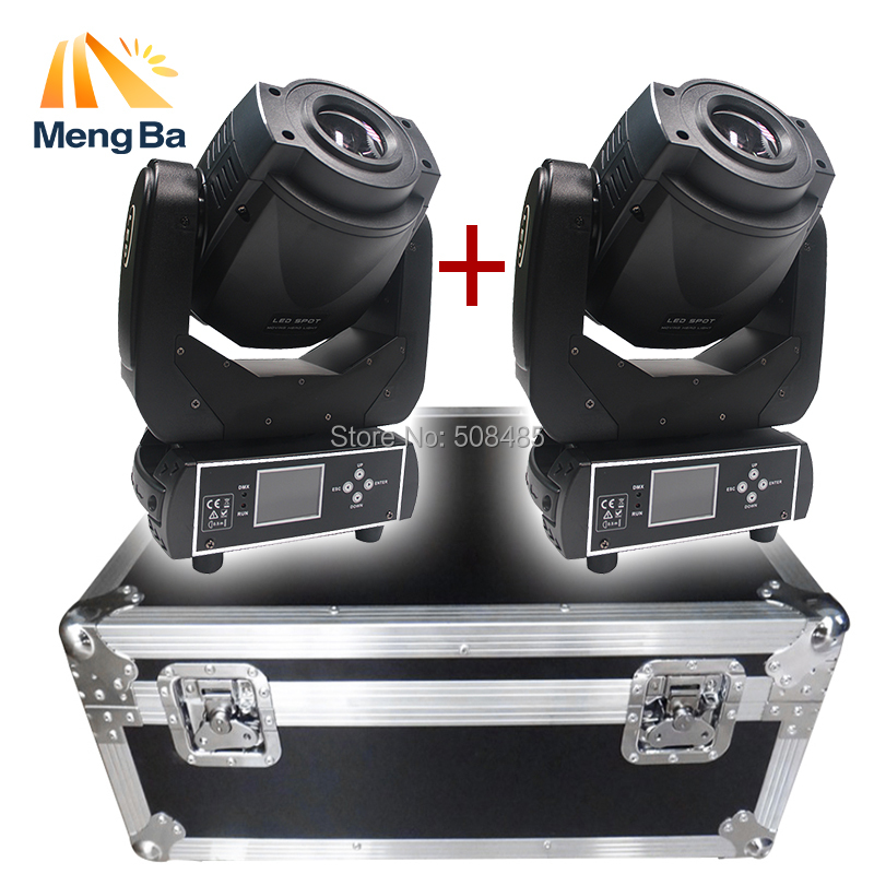 Flight case with 2pcs 90W Gobo LED Moving Head Light 3 Face Prism DMX512 LCD Display DJ spot light for Stage Disco club Party