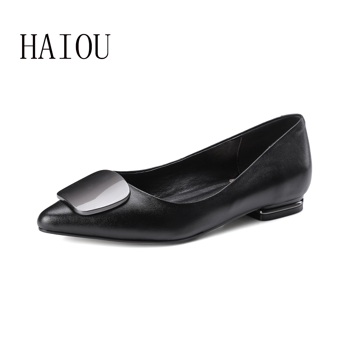 New Spring Genuien Leather Flats Shoes for Woman Fashion Style Pointed Toe Shoes Black Casual Women's Flat Shoe Shallow Big Size 2017 new fashion spring ladies pointed toe shoes woman flats crystal diamond silver wedding shoes for bridal plus size hot sale