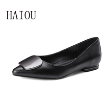 New Spring Genuien Leather Flats Shoes for Woman Fashion Style Pointed Toe Shoes Black Casual Women's Flat Shoe Shallow Big Size