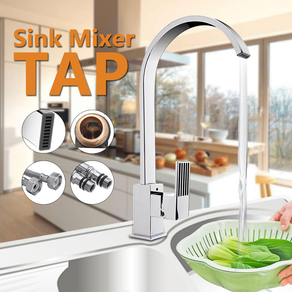 Single Lever Waterfall Basin Bathroom Sink Faucet Kitchen Basins Sink Mixer Tap Silver Brass Hot & Cold Water Faucet 2 Pipes phasat 4905 modern chromed brass waterfall kitchen sink faucet water tap silver