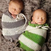 Baby Woolen Yar Sleeping Bag Sleeping Bag Props Knited Crochet Green Striped Studio Adjustable Baby Costume Photography Prop