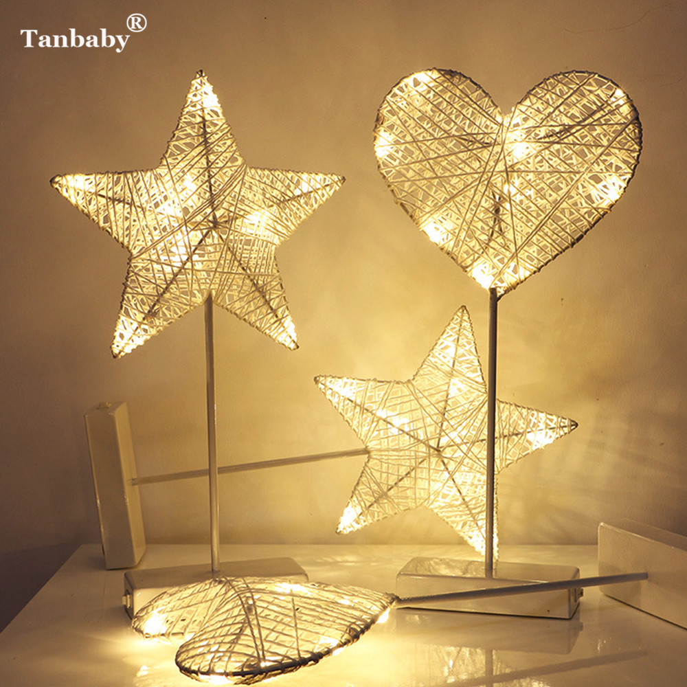 Tanbaby 40CM Star Heart Love Shape Grass Rattan Woven LED Night Light Battery Power Girl ...
