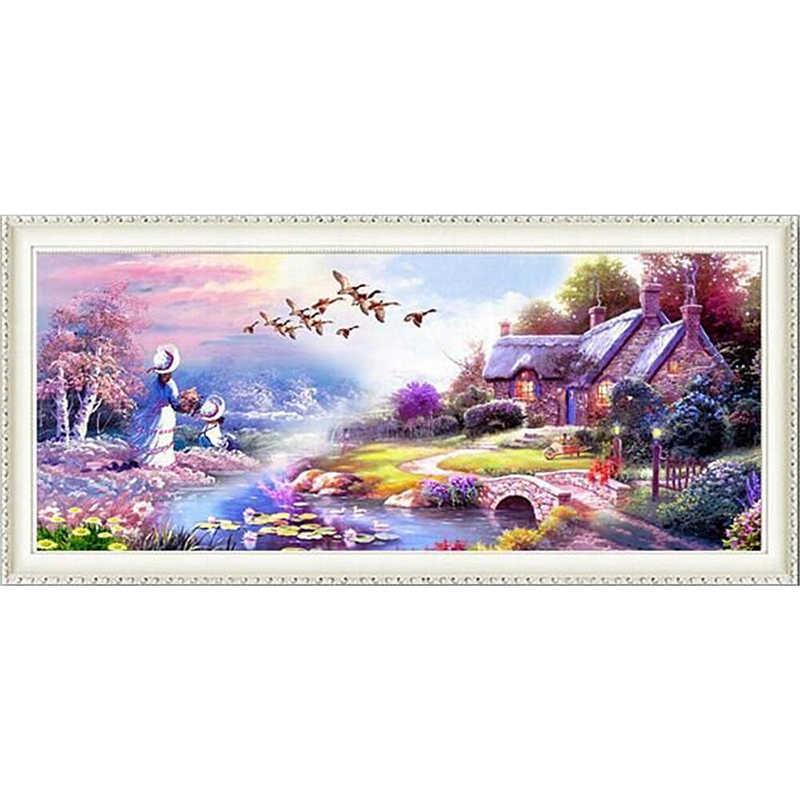 DIY 5D Diamond Lukisan Baru Ungu Garden Cottages, Cross Stitch Suites, Diamond Bordir Dekorasi Rumah Yy