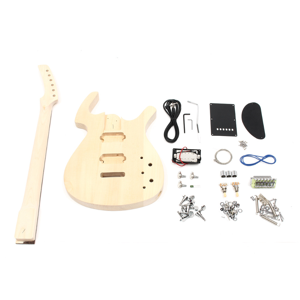 DIY Unfinished 6 String Electric Bass Guitar Kit Basswood Body With Maple Neck st style electric guitar diy kit set guitarra durable basswood body maple fingerboard maple neck with guitar accessories