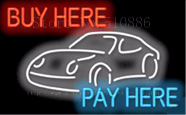 buy here pay here with graphic auto car repair real tube car neon sign decorative custom led. Black Bedroom Furniture Sets. Home Design Ideas