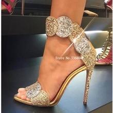 Luxury Gold Bling Bling Glitter Embellished High Heel Sandal Woman Fashion Petal