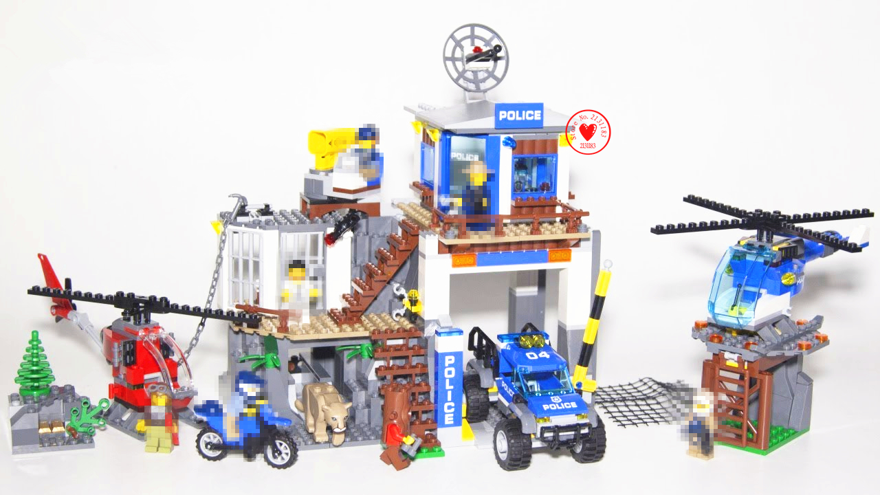 New city Mountain Police Headquater fit 60174 fit legoings swat city figures Gift Kid Model Building Blocks Bricks diy Toys boy bohs building blocks city police station coastal guard swat truck motorcycle learning