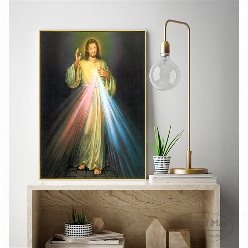Jesus luz pintura da lona arte parede nordic decoração casa moderna cartaz para sala de estar sem moldura impressão imagens