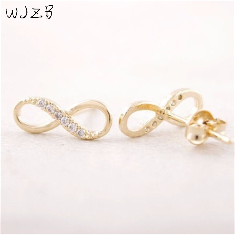 WJZB 1 PCS earring fashion zircon infinity symbol stud earrings retail delivery free of charge for