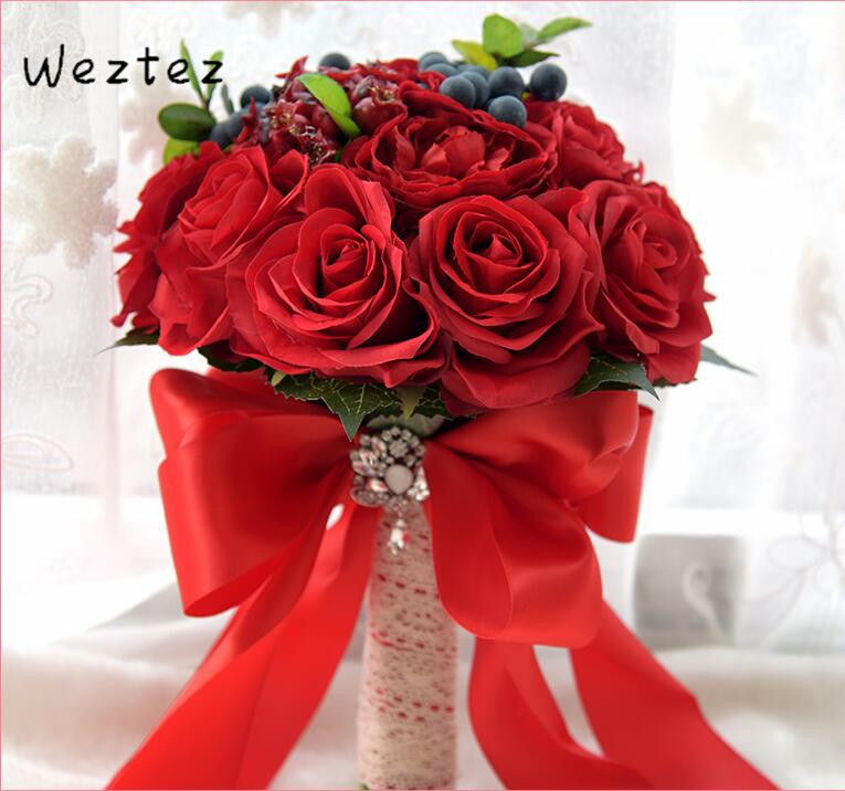 Bridal Bouquets Artificial Rose Wedding Bouquet Wedding Flowers Wine Red Royal Bridesmaid D542