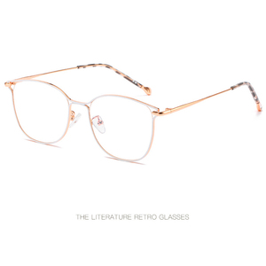 Image 2 - 2019 new ladies optical mirror cat eye fashion can be equipped with myopia glasses frame trend personality square metal glasses.