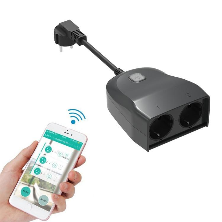 En plein air WIFI prise intelligente maison Intelligente travail avec google amonzon Alexa smart voice prise de synchronisation étanche socket UE