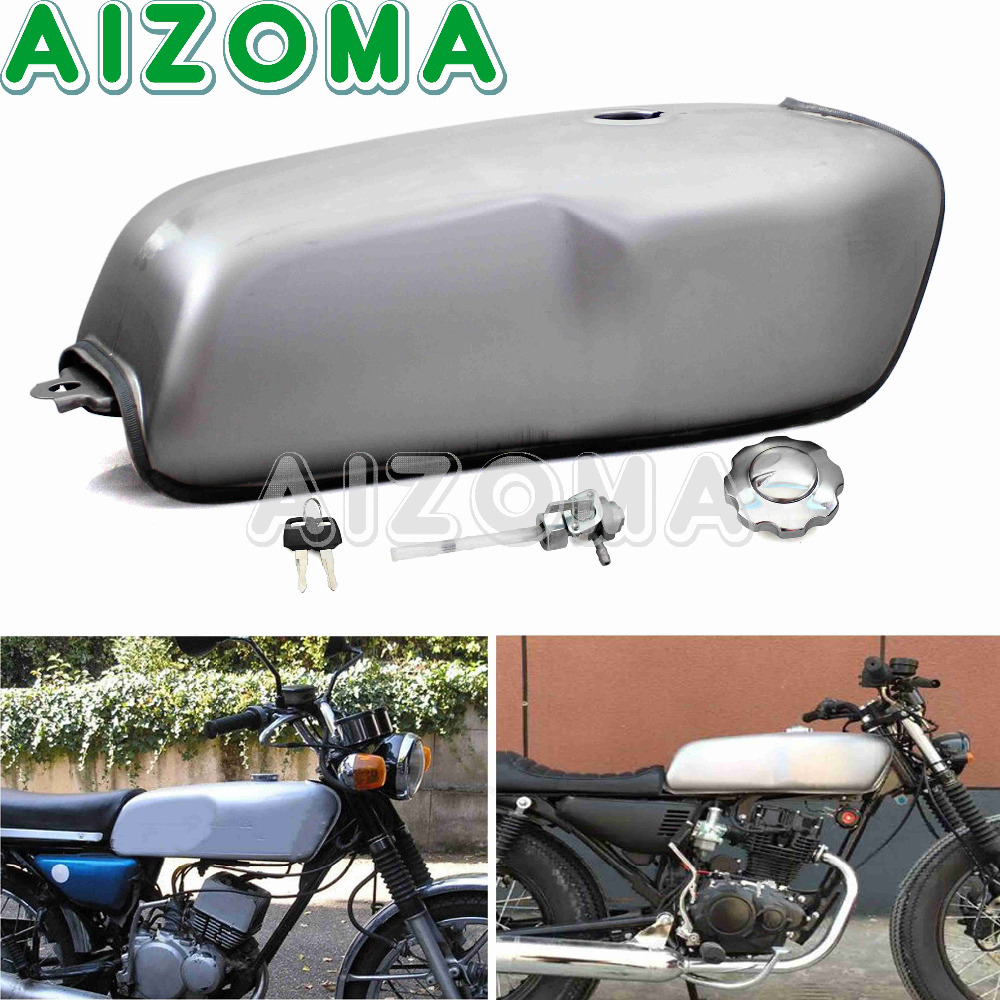 Cafe Racer 9L 2.4Gal Unpainted Fuel Tank Motorcycle Iron Oil Tank For Kawasaki Suzuki Honda Yamaha RD50 RD350 RD400 BMW R100R motorcycle 9l black cafe racer gas capacity tank universal fuel tank with thick iron cap switch for honda cg125 cg125s cg250