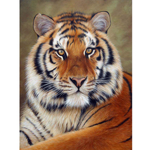 5D DIY Diamond Painting Needlework Full Drill Round Diamond Embroidery Tiger Pattern Mosaic Stickers Cross Stitch цена