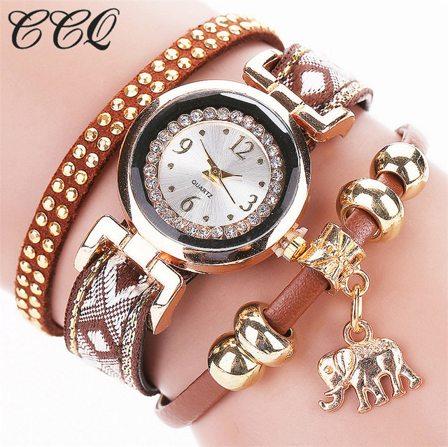 CCQ Brand Fashion Women 2016 Gold Elephant Pendant Luxury Bracelet Watch Female Girl Casual Quartz Watch C59