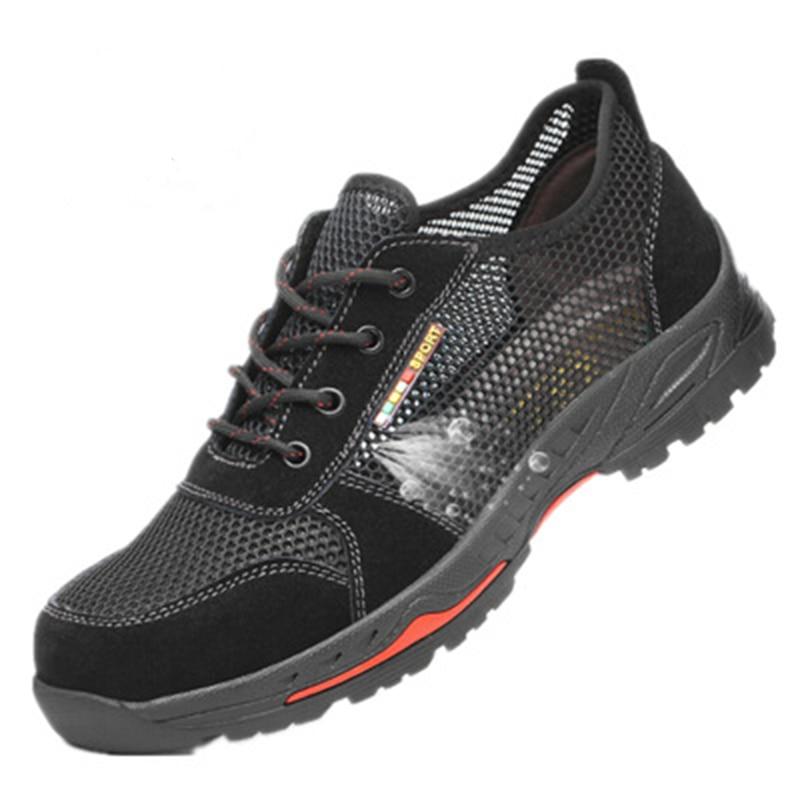 Calçado de segurança calçado de segurança respirável sapatos Leves dos homens verão anti-esmagamento trabalho sandálias de perfuração Única malha sneakers 38- 45