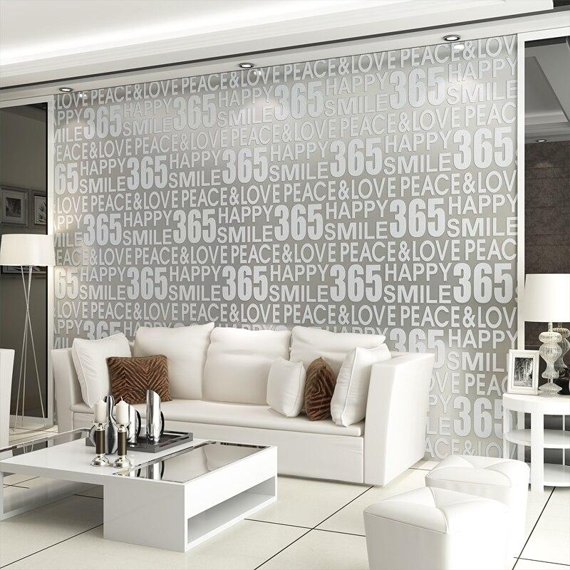 Lettres anglaises 3D stéréoscopique épaissie Non-tissé flocage papier peint moderne mode salon canapé TV fond papier peint