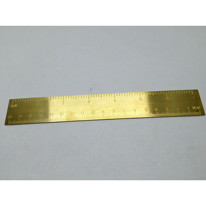 10pcs  MINI Vintage Brass Handy Straight Ruler School Copper Metal Bookmark EDC Tools CM Inch Dual Scales 18CM