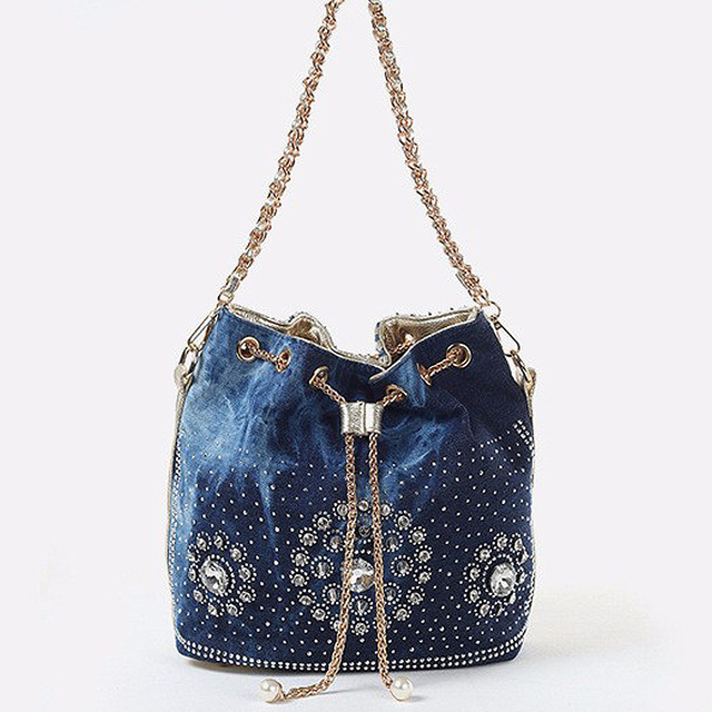 Women denim bag with rhinestones handbag with chain handle summer beach small shoulder bag ladies handwoven bucket bag
