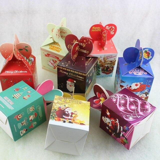 10Pcs/pack Christmas Gifts Box Folded Colorful Christmas Apple Box ...