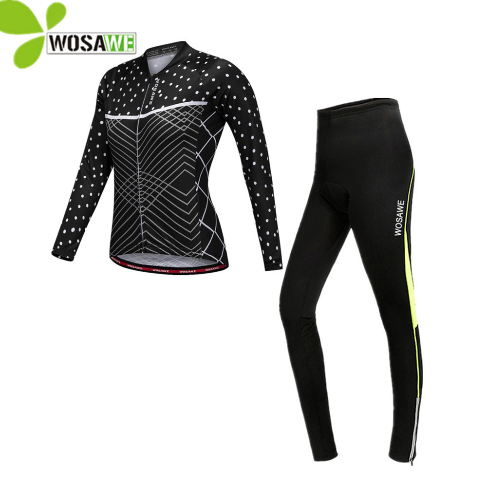 WOSAWE women pro team cycling sets jersey full length quick dry autumn clothes equipments bike bicycle ciclismo cycling clothing pro biker mcs 23 full fingers autumn