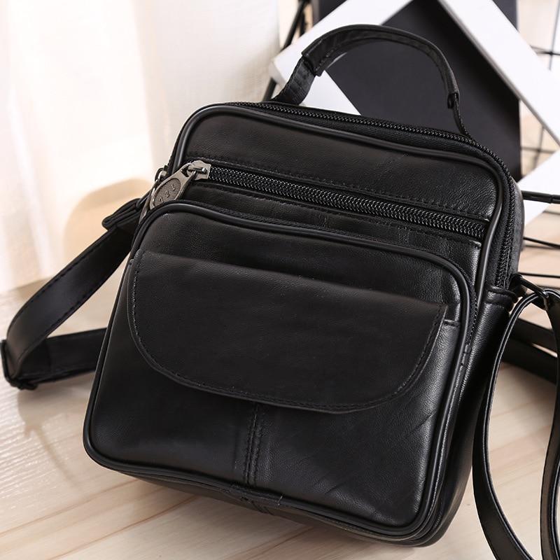 Genuine Leather Mens Bags Male Crossbody Bags Small Flap Casual Messenger Bag Mens Shoulder Bag Genuine Leather Skin 11014