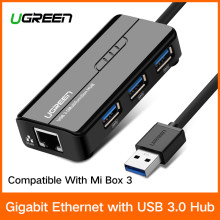 Ugreen USB Ethernet USB 3,0 2,0 до RJ45 концентратора для Xiaomi Mi коробка 3 Android ТВ телеприставки Ethernet адаптер сетевой карты USB Lan(China)