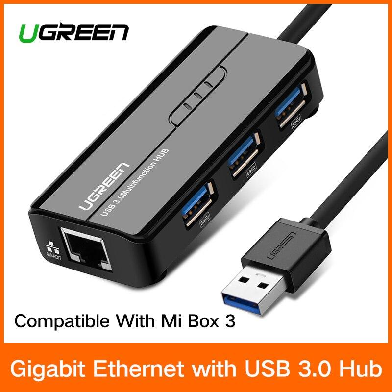 Ugreen USB Ethernet USB 3.0 2.0 para RJ45 3 HUB para Xiao mi mi Caixa Android TV Set-top caixa Ethernet Adapter Placa de Rede USB Lan