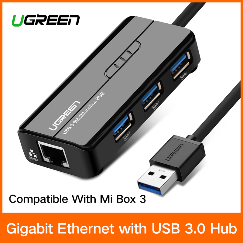 Ugreen USB Ethernet USB 3,0 2,0 a RJ45 HUB para Xiao mi caja 3 Android TV Set-top caja adaptador Ethernet tarjeta de red Lan USB