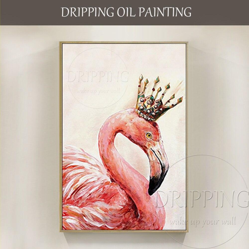 Artiste peint à la main de haute qualité moderne Animal Flamingo peinture à l'huile pour décor mural à la main rose Animal Flamingo décor peinture