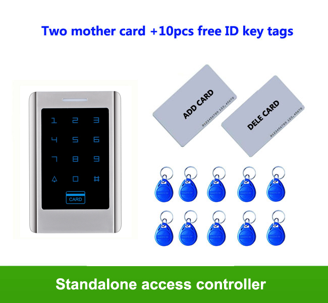 RFID Touch keypad Metal access control system 125KHZ IP65 Anti-hit 1000pcs user 2pcs mother card, 10pcs ID key tags proximity rfid 125khz em id card access control keypad standalone access controler 2pcs mother card 10pcs id tags min 5pcs