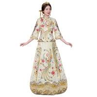 Female Phoenix Qipao Chinese Traditional Bride Dress Flower Embroidery Cheongsam Wedding Photography Clothing S XXL Lady Gift
