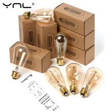Ретро Edison led светильник лампочка E27 220 В 40 Вт A19 A60 ST64 T10 T45 T185 G80 G95 нити Винтаж ампулы лампа накаливания Эдисона лампа