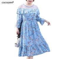 2018 4XL New Elegant Plus Size Women Summer Dress Chiffon Floral Print Big Sizes Dresses Patchwork